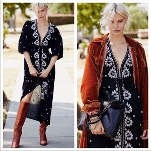 Free People Fable Black Embroidered Midi Dress NEW